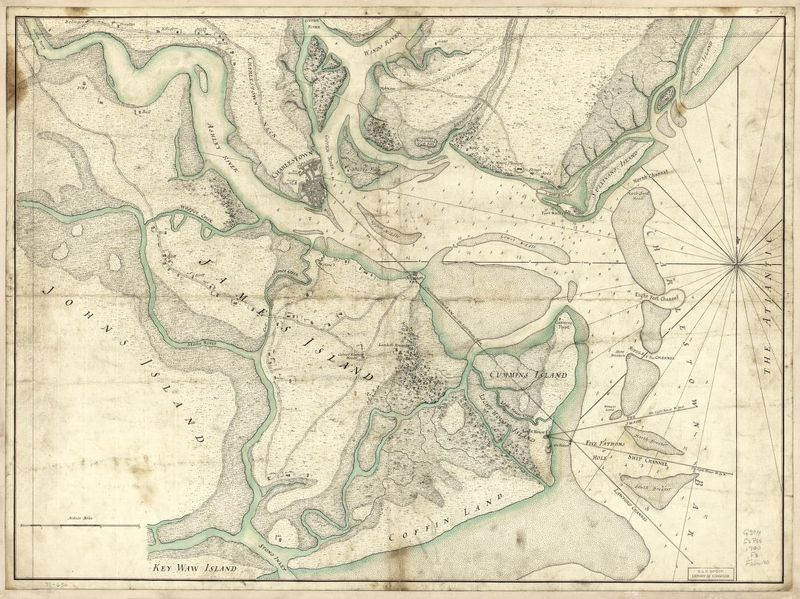 """A plan of the town, bar, harbour, and environs of Charlestown in South Carolina,"" 1780, William Faden, courtesy of Library of Congress Geography and Map Division."