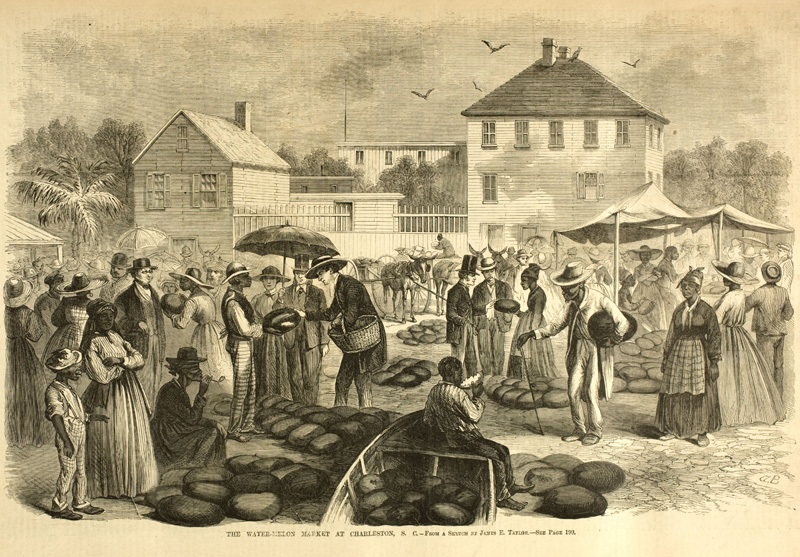"""The Watermelon Market at Charleston, S. C.,"" sketch by James E. Taylor, <em>Frank Leslie's Illustrated Newspaper</em>, 1866, courtesy of Library of Congress Prints and Photographs Division."