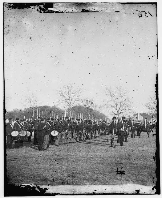 50<sup>th</sup> Pennsylvania Infantry in parade formation, photograph by Timothy H. O'Sullivan, Port Royal, South Carolina, 1862, courtesy of Library of Congress Prints and Photographs Division.