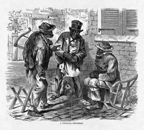 """A political discussion,"" 1869, sketch by William Ludwell Sheppard, <em>Harper's Weekly</em>, courtesy of Library of Congress Prints and Photographs Division."