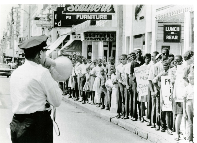 Protesters on King Street during the Charleston Movement, Charleston, South Carolina, ca. 1960s, courtesy of the Avery Research Center.