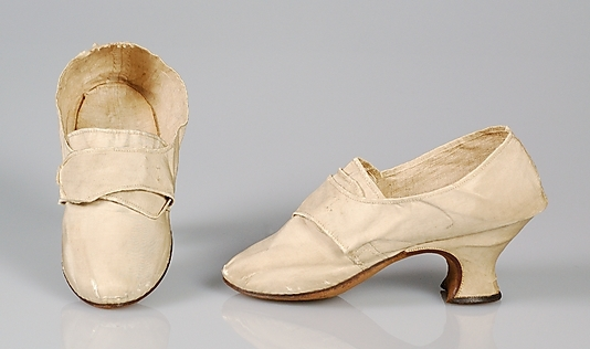 Women's shoes, silk, made in England, 1750-1769, Brooklyn Museum Costume Collection, courtesy of the Metropolitan Museum of Art.
