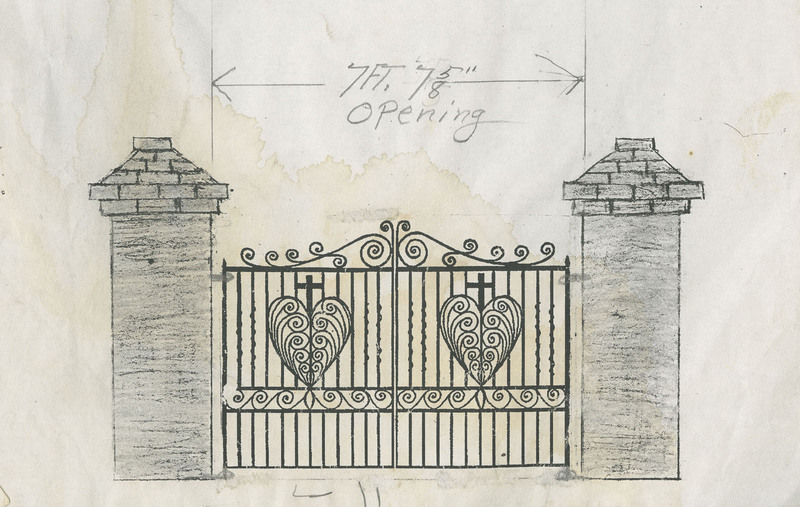 "Garden gate sketch (""Opening""), 91 Anson Street, Charleston, South Carolina, created by Philip Simmons, ca. 1995, Philip Simmons Collection, courtesy of the Avery Research Center."