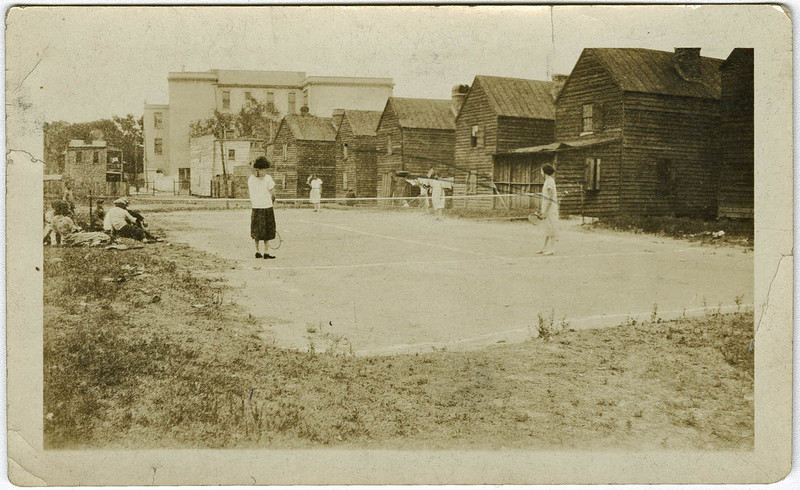 Avery students playing tennis on the court behind the Cannon Street YMCA, 1928, courtesy of Avery Research Center for African American History and Culture.