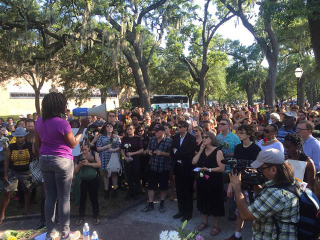 Black Lives Matter marchers listening to one of the leaders of the march, June 20, 2015, Charleston, South Carolina, courtesy of ABC New4 WCIV-TV.