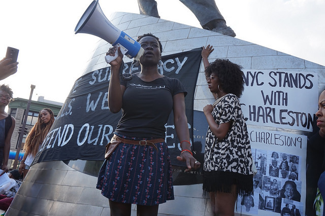 Speakers at the NYC Stands with Charleston Vigil and Rally, photograph by The All-Night Images, June 22, 2015, New York, New York.