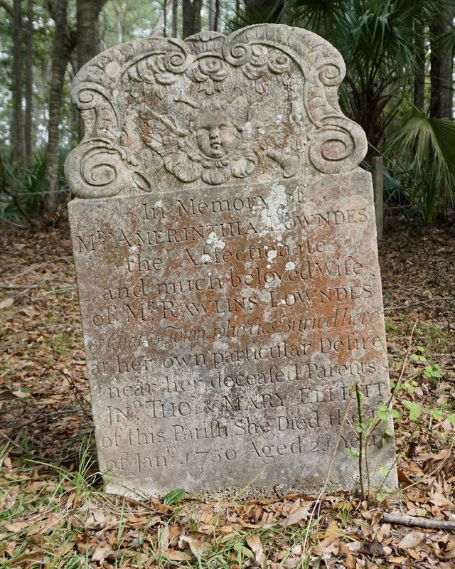 Gravestone of Amerinthia Elliot Lowndes, photograph by Mills Pennebaker, Stono Preserve, 2019.