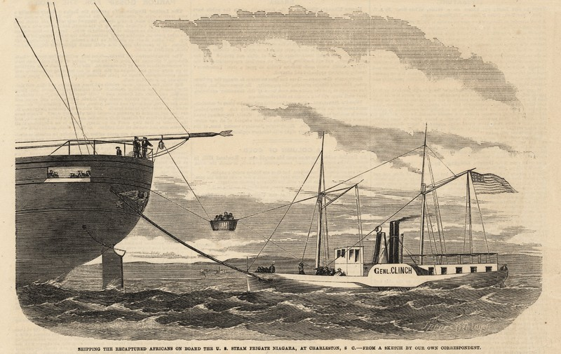 The <em>Echo</em> Africans being transferred to the <em>U.S.S. Niagara</em> before their voyage to Liberia in September 1858, from <em>Frank Leslie's Illustrated Newspaper</em>, Charleston Museum Archives, Illustrated Newspapers Collection, courtesy of the Charleston Museum.