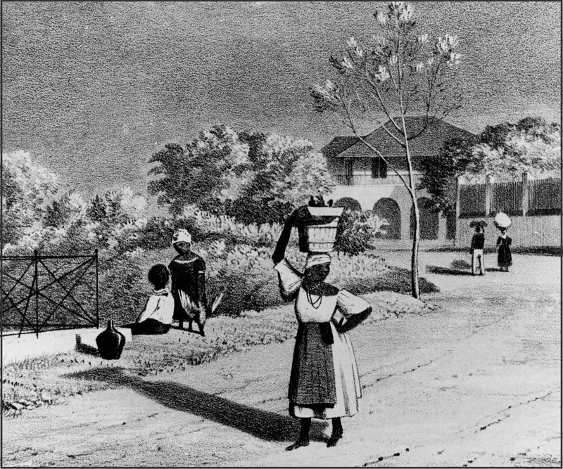 Engraving depicting a woman carrying a basket and tray on her head, John Money Carter, Bridgetown, Barbados, 1835, courtesy of Slavery Images.