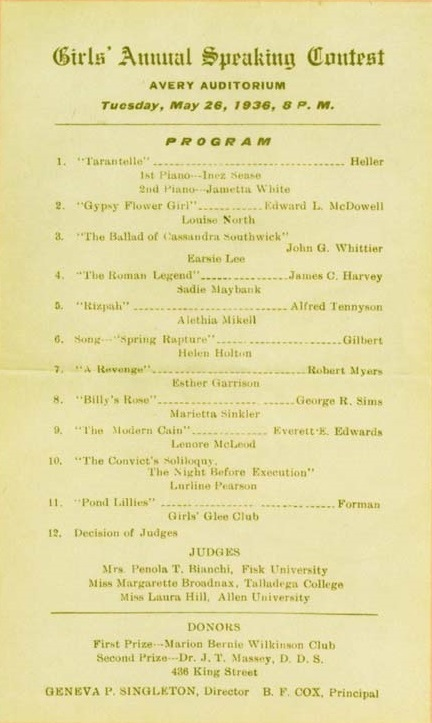 """Girls' Annual Speaking Contest,"" program, 1936, courtesy of the Avery Research Center."