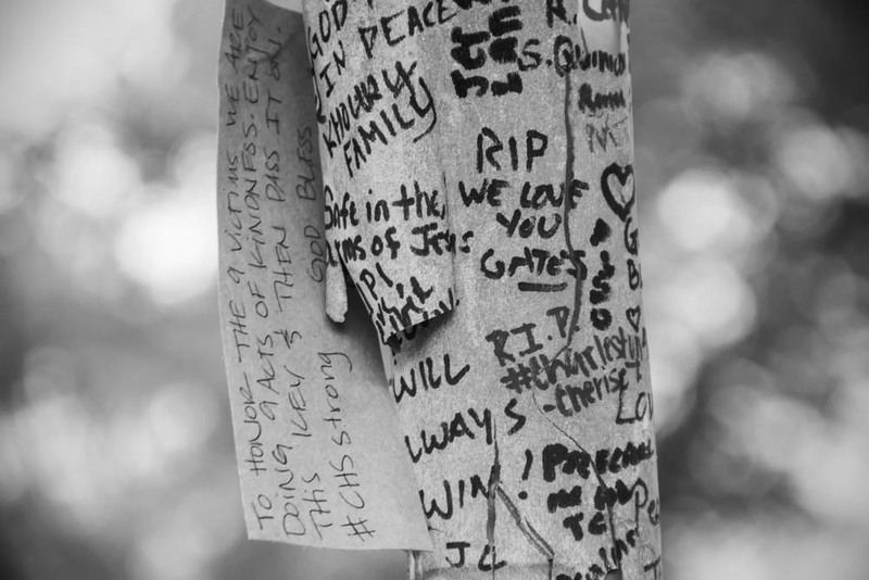 A tree in front of Emanuel AME Church covered in messages in response to the mass shooting, photograph by Brandon Coffey, June 29, 2015, Charleston, South Carolina.