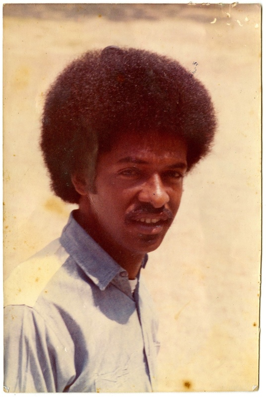 Cleveland Sellers, ca. 1970s, possibly wearing blue prison garb shortly after his prison release in 1973, Cleveland L. Sellers Papers, courtesy of the Avery Research Center.