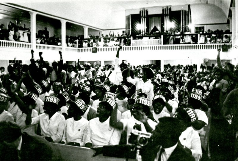 Rally at Morris Brown A. M. E. Church, Charleston, South Carolina, 1969, courtesy of Avery Research Center.