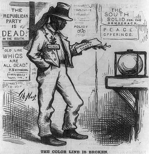 """<span>""""The color line is broken,"""" 1877, wood engraving by Thomas Nast, <em>Harper's Weekly</em>, courtesy of Library of Congress Prints and Photographs Division. <br /></span>"""