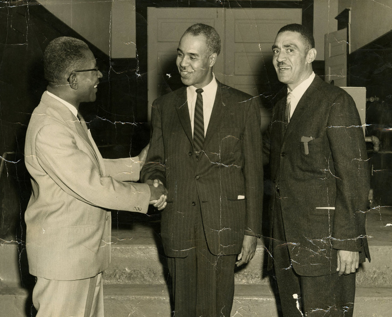 NAACP Leaders (left to right) Arthur D. Greene, Roy Wilkins, and J. Arthur Brown, ca. 1950s and 60s, J. Arthur Brown Collection, courtesy of the Avery Research Center.