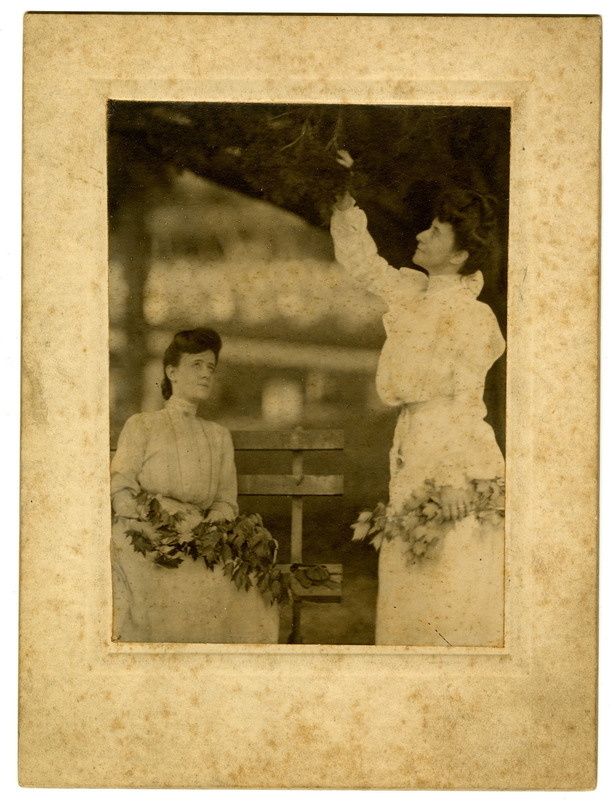 Carrie and Aunt Julia Pollitzer (Gustave's sister, standing) pose with flowers, ca. 1895, Anita Pollitzer Family Papers, South Carolina Historical Society.