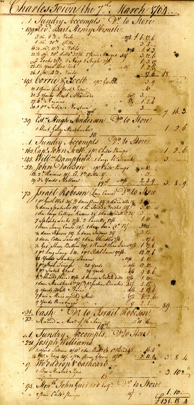 Ledger entries for the 7th of March to the 15th of March, 1764, Charles Town, South Carolina, The James Poyas Daybook Collection, courtesy of the Charleston Museum Archives.