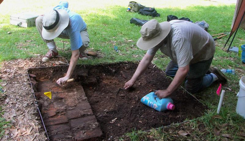 St. Paul's Parish churchyard unearthing a portion of the church's foundations, photograph by Kimberly Pyszka, Stono Preserve, 2009.