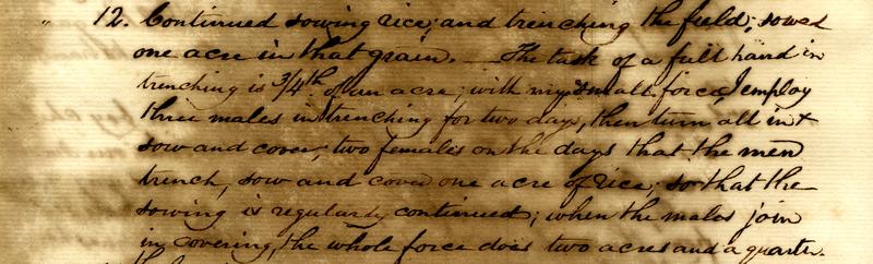 <p>Example of a daily labor schedule on Jericho Plantation, Mathurin Guerin Gibbs Plantation Register, Bethera, South Carolina, April 12, 1845, courtesy of theSouth Carolina Historical Society.</p>
