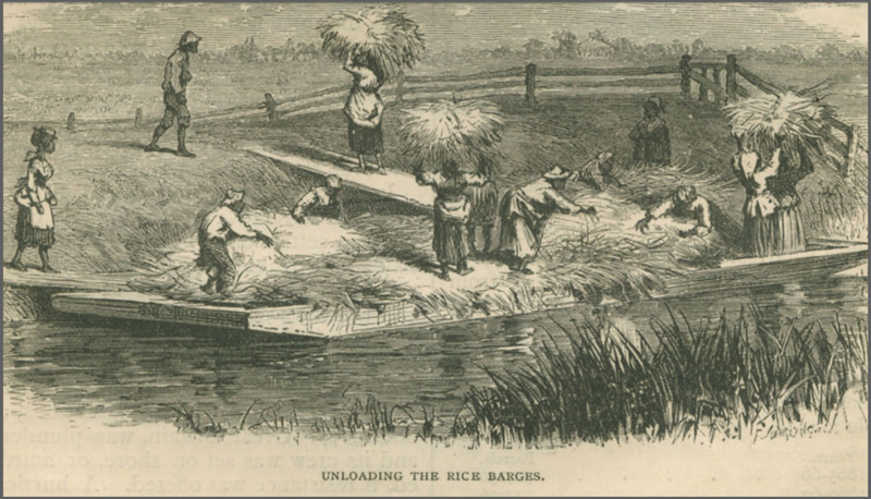 Enslaved people unloading the rice barges, J. Wells Champney, in Edward King's<em> The Great South: A Record of Journeys</em>, 1875, South Carolina, courtesy of Documenting the American South.