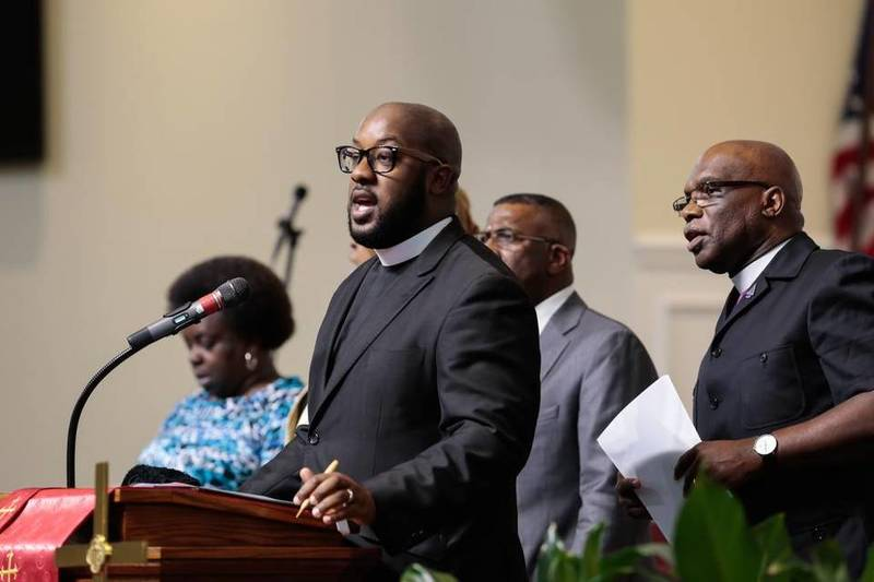 Pastor Maurice Harden&nbsp;of New Mt. Olivet AME Zion Church speaks during a vigil at the Kenneth Monroe Transformation Center, June 18, 2015,&nbsp;Rock Hill, South Carolina, courtesy of <em>The Herald</em>.