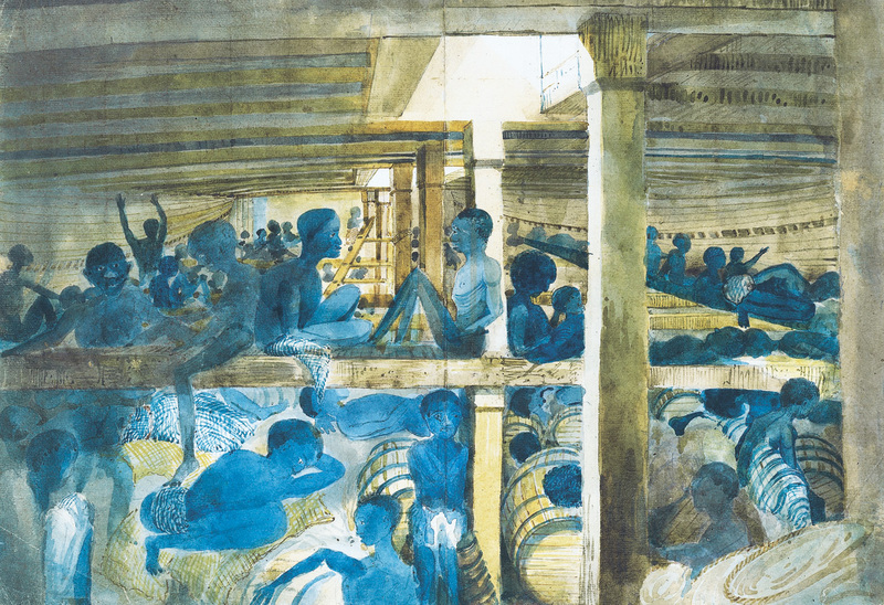 The Hold of a Slave Ship Captured off the Congo River, painting by Francis Meynell, 1845, courtesy of the National Maritime Museum, London, United Kingdom.