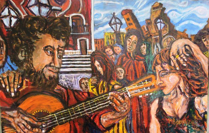 <em>Sin título</em><span>, pintura de Pedro Rodríguez, Charleston, Carolina del Sur. Rodríguez es un artista, terapeuta a través del arte, maestro y activista comunitario. Sus obras vívidas incorporan elementos multidimensionales, emoción y herencia latinoamericana.</span>