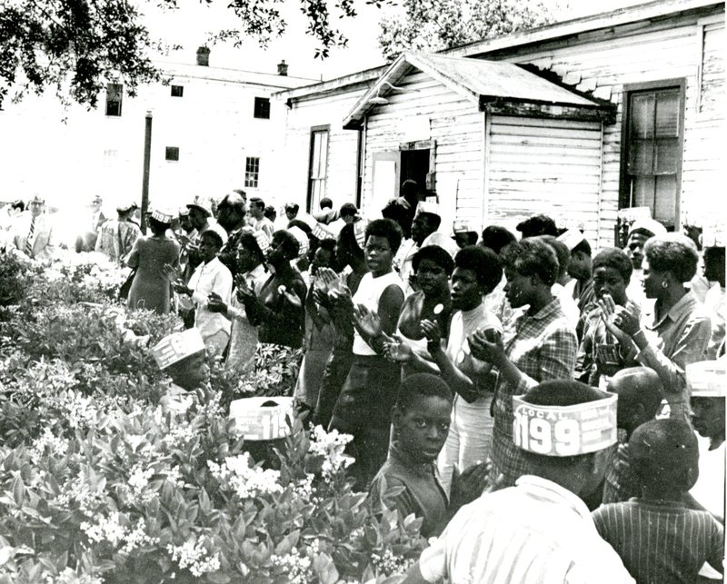 Strikers gathering, Charleston, South Carolina, 1969, courtesy of Avery Research Center.
