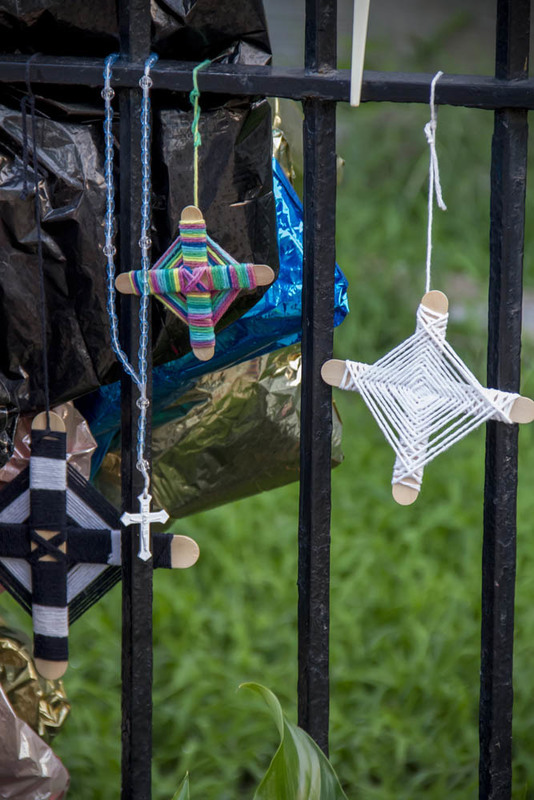 Crosses hung on the fence of Emanuel AME Church, photograph by Brandon Coffey, June 29, 2015, Charleston, South Carolina.