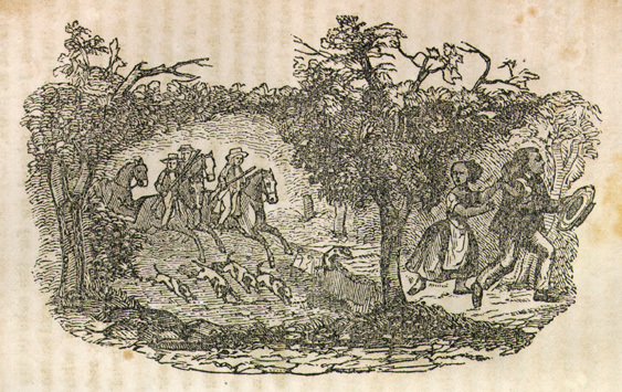 Illustration depicting an enslaved couple fleeing from slave patrollers, from Narrative of the Life and Adventures of Henry Bibb, An American Slave, Written by Himself, 1849, courtesy of Documenting the American South.