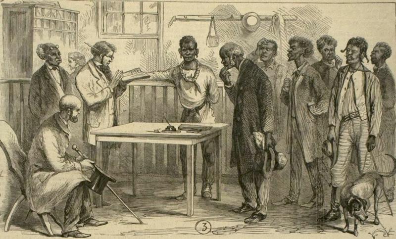 """<span>Scene in Registration office, Macon, Ga,</span>"" 1867, sketch by James E. Taylor in <em>Frank Leslie's Illustrated Newspaper</em>, courtesy of Library of Congress."