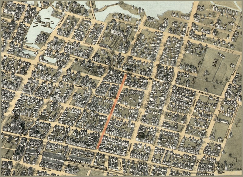 Detail of bird's eye view of the city of Charleston map highlighting Morris Street, C.N. Drie, 1872, courtesy of Library of Congress.