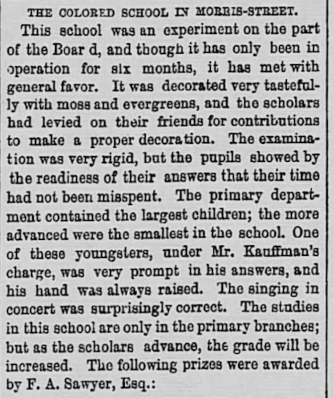 """Newspaper article about the recent opening of Simonton School, """"The Colored School at Morris Street,"""" Charleston Daily News, 1868."""