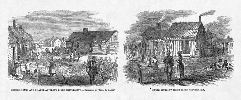 Trent River settlement, North Carolina, 1866, <em>Harper's Weekly</em>.