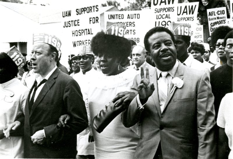Mary Moultrie with Walter Reuther and Ralph Abernathy, Charleston, South Carolina, 1969, courtesy of Avery Research Center.