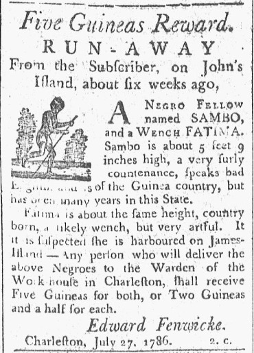 Runaway slave advertisement,&nbsp;<em>The State Gazette of South Carolina,&nbsp;</em>Charleston, South Carolina, August, 7,1786.
