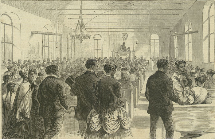"""Colored National Labor Union convention in Washington, D.C.,"" February 6, 1869, Harper's Weekly, courtesy of the Library of Congress."