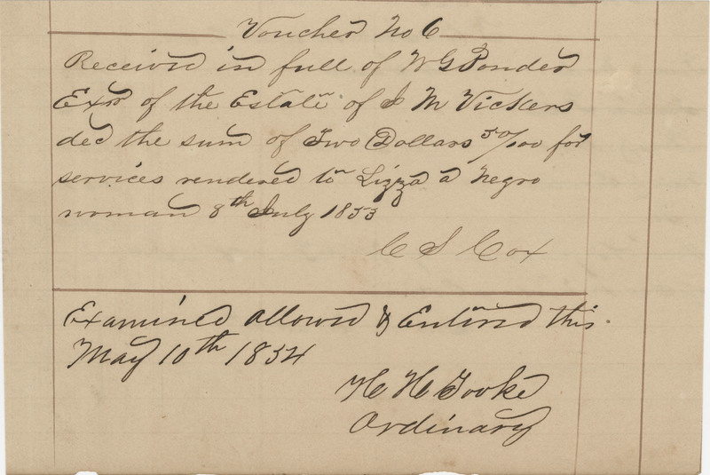 Doctor's bill for Lizza, an enslaved woman, Thomas County, Georgia, 1853, courtesy of the Avery Research Center.
