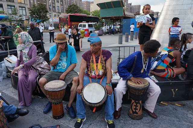 Participants with drums attending the NYC Stands with Charleston Vigil and Rally, photograph by The All-Nite Images, June 22, 2015, New York, New York.