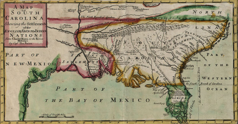 "Map of colonial South Carolina, from ""A compleat description of the province of Carolina in three parts,"" published by Edward Crisp, England, 1711, courtesy of Library of Congress Geography and Map Division."