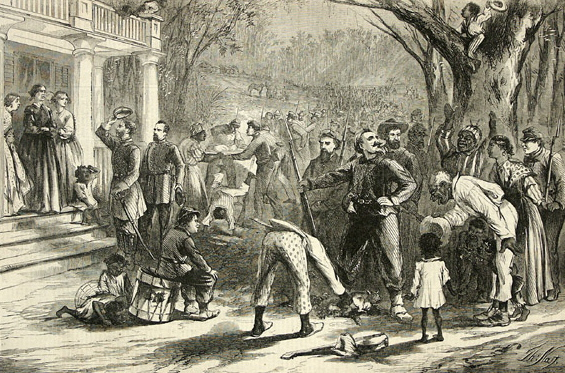"""Arrival of a Federal Column at a Planter's House in Dixie,"" engraving by Thomas Nast, Harper's Weekly, 1863, courtesy of the Princeton University Library, Graphic Arts Collection."