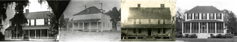 From left, Home on Middleburg Plantation, Unknown Plantation,  Home on Wampee Plantation, Home at Limerick Plantation, courtesy of the Charleston Museum.