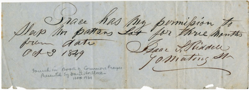 Slave pass for an enslaved woman named Grace, Isaac Riddell, Charleston, South Carolina, 1849, courtesy of College of Charleston.