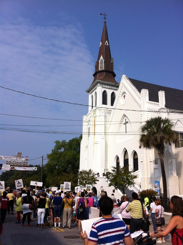 Marchers arriving at Emanuel AME Church during the Days of Grace March and Rally, photograph by Mary Battle, September 5, 2015, Charleston, South Carolina.