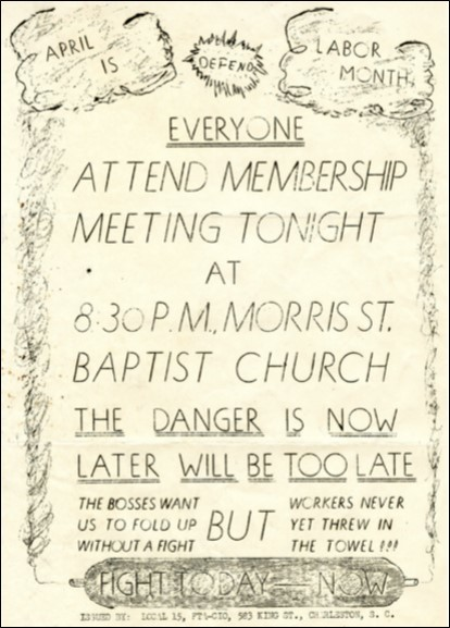 Flyer for the cigar factory workers' union meeting at Morris Street Baptist Church, 25 Morris Street, circa 1945, courtesy of the South Carolina Historical Society.