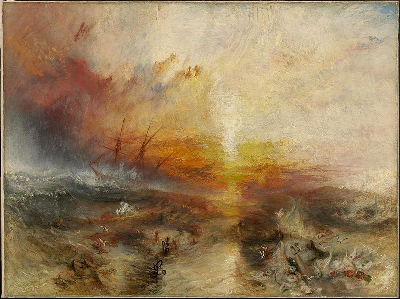 The Slave Ship, Slavers throwing overboard the Dead and Dying — Typhoon coming, painting by J.M.W. Turner, 1840, courtesy of the Museum of Fine Arts, Boston, Massachusetts.