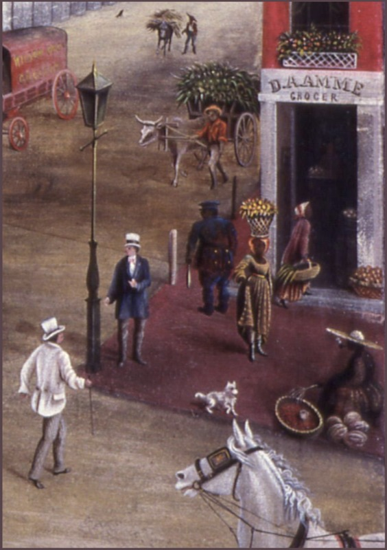 "Portion of ""Charleston Square,"" painting by Charles J. Hamilton, Charleston, South Carolina, 1872, courtesy of the Abby Aldrich Rockefeller Folk Art Museum, The Colonial Williamsburg Foundation."