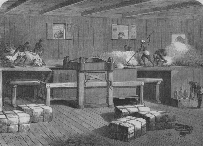 """Press for packing indian cotton,"" image from the <em>Illustrated London News</em>, 1864, courtesy of Columbia University."