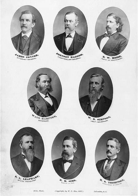 State officials of South Carolina, ca. 1877, photograph by W.P. Hix, courtesy of Library of Congress Prints and Photographs Division.