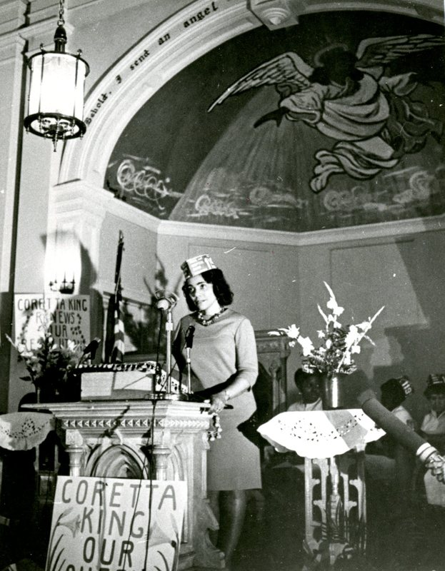 Coretta Scott King speaking at Morris Brown AME Church, Charleston, South Carolina, 1969, courtesy of Avery Research Center.